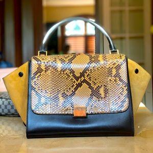 Celine Python Trapeze Handbag, 100% Authentic